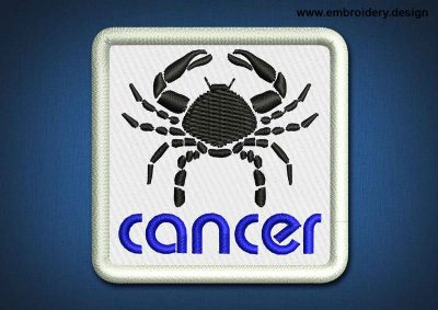 This Zodiac Patch Cancer design was digitized and embroidered by www.embroidery.design.