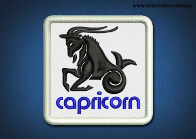 This Zodiac Patch Capricorn design was digitized and embroidered by www.embroidery.design.