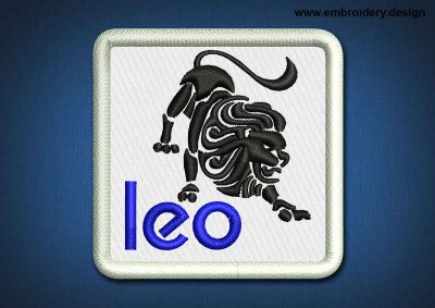 This Zodiac Patch Leo design was digitized and embroidered by www.embroidery.design.