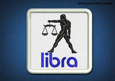 This Zodiac Patch Libra design was digitized and embroidered by www.embroidery.design.