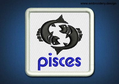 This Zodiac Patch Pisces design was digitized and embroidered by www.embroidery.design.