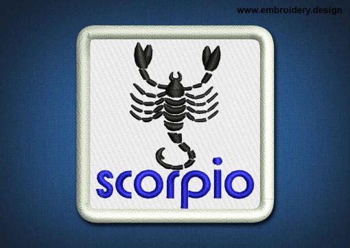 This Zodiac Patch Scorpio design was digitized and embroidered by www.embroidery.design.