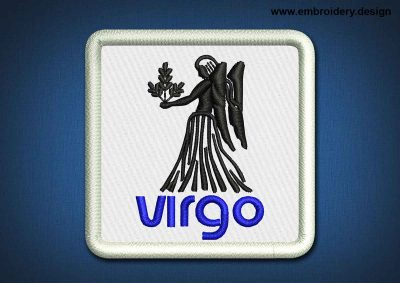 This Zodiac Patch Virgo design was digitized and embroidered by www.embroidery.design.