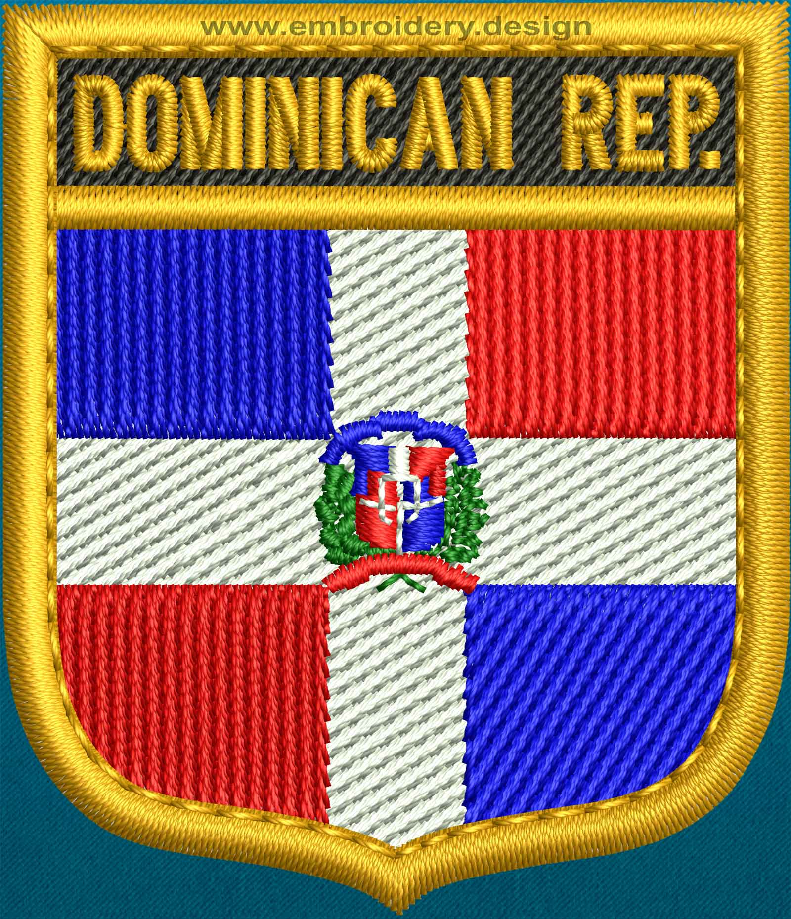 Design embroidery flag of dominican republic shield with for Design republic
