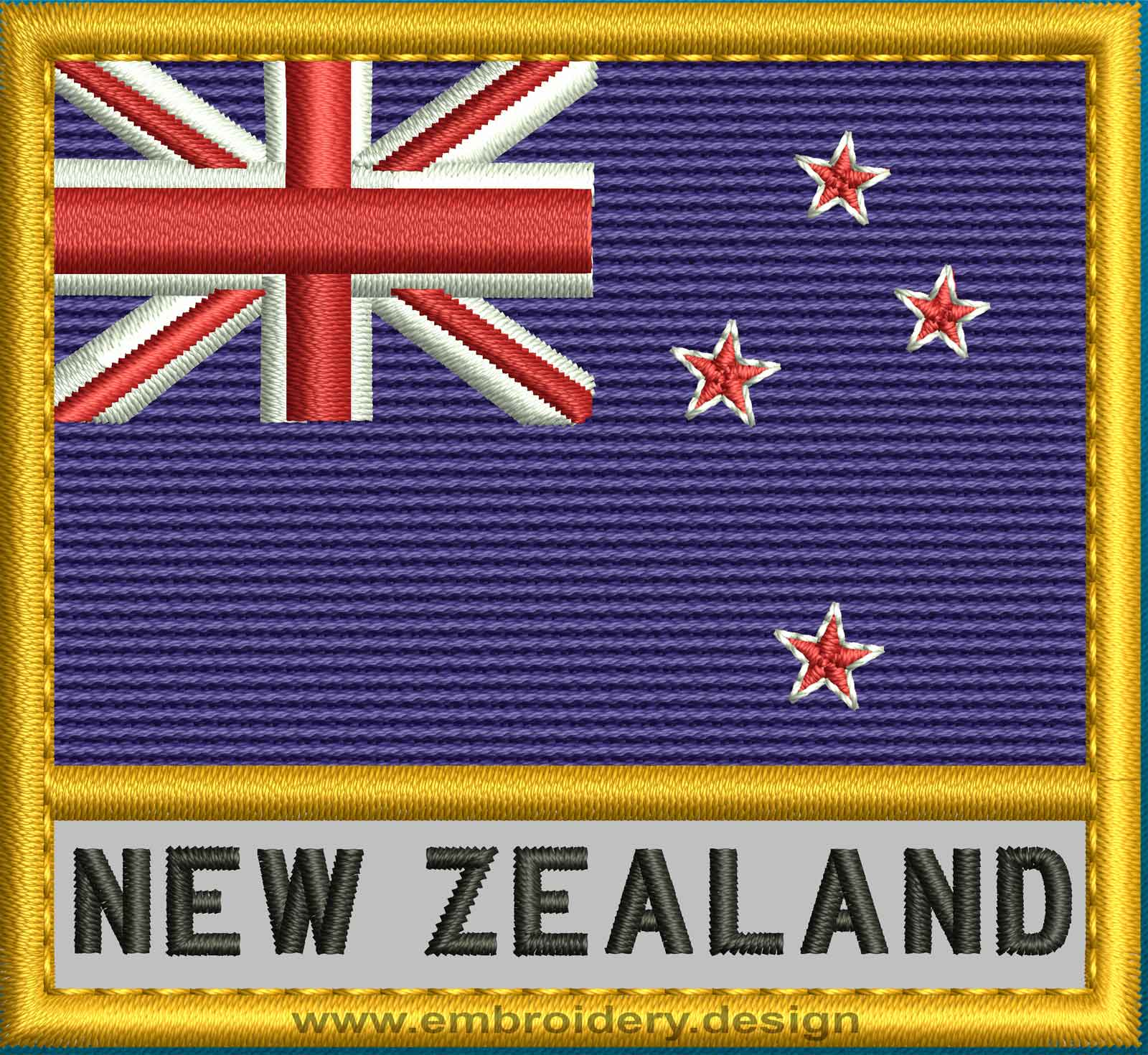 Design embroidery flag of new zealand with text caption for Space fabric nz
